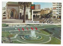 Morocco Maroc Casablanca Multiview Three Views Vtg Postcard 4X6 - $4.99