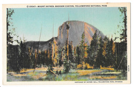 WY Yellowstone Park Mount Haynes Madison Canyon Vtg Linen Postcard Wyoming - $5.52
