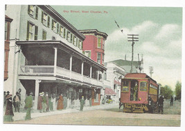 West Chester PA View of Gay Street Trolley Bicentennial Repro Postcard 1... - $5.52