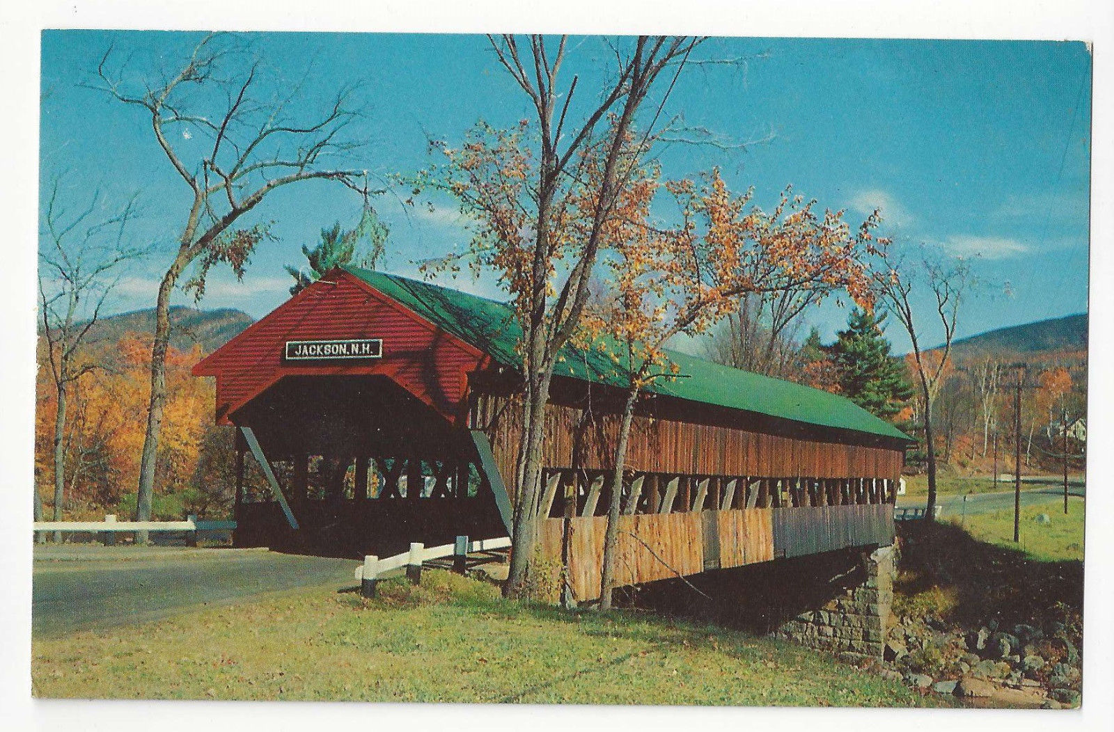 NH Jackson Covered Bridge Ellis River White Mountains Vtg Postcard