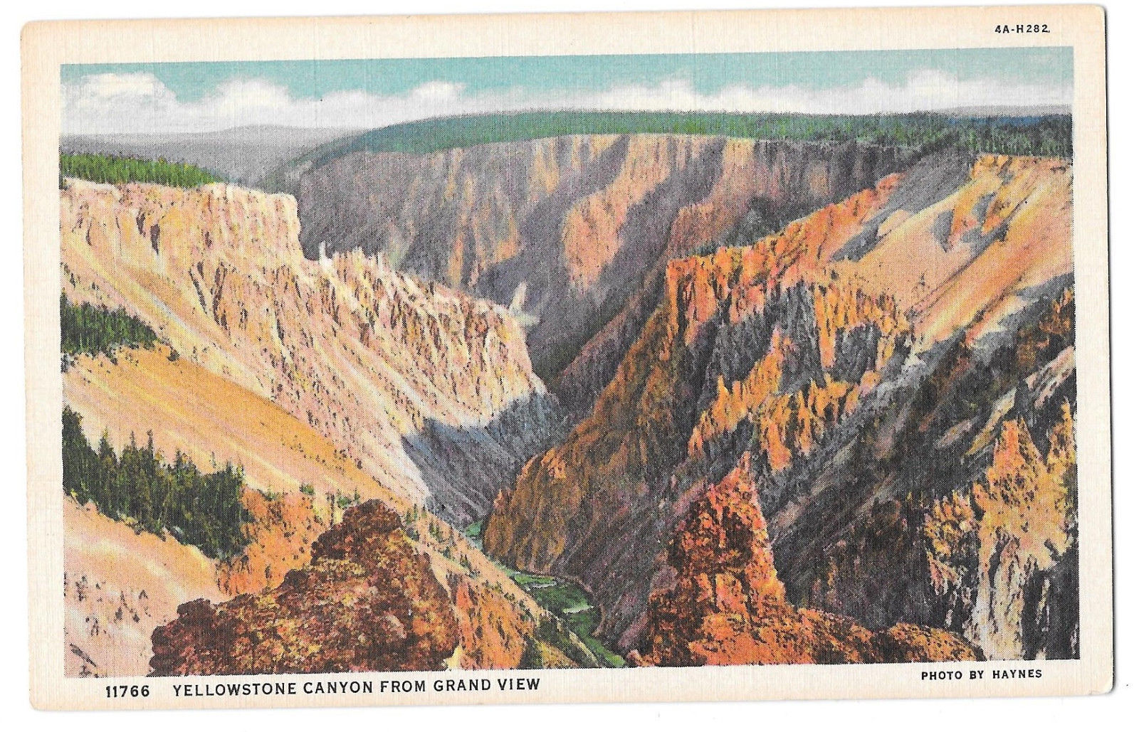 WY Yellowstone Canyon from Grand View Vtg Haynes Linen Postcard Wyoming