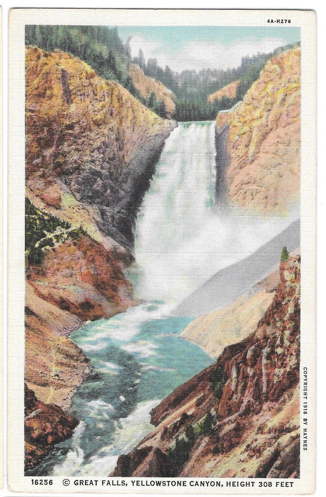 WY Yellowstone Canyon Great Falls Vtg Haynes Linen Postcard Wyoming