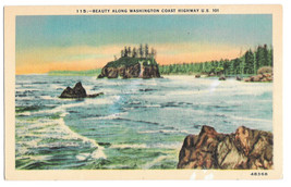 WA Coast Highway US 101 Ocean View Vtg Linen Postcard Washington - $6.49