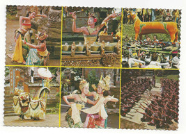 Bali Multiview Balinese Dancers Costumes Barong Vtg Indonesia Postcard 4X6 - $4.84