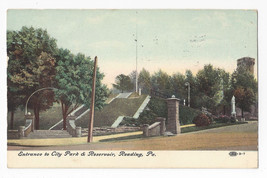 PA Reading Entrance City Park and Reservoir Vtg 1909 Postcard Oakville P... - $5.52