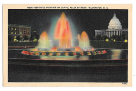 Washington DC Fountain on Capitol Plaza Night Vtg B S Reynolds Linen Pos... - $4.84