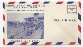NAMW 1938 National Air Mail Week Deal NJ Casino Pool Photo Airmail Cover Unused - $6.99