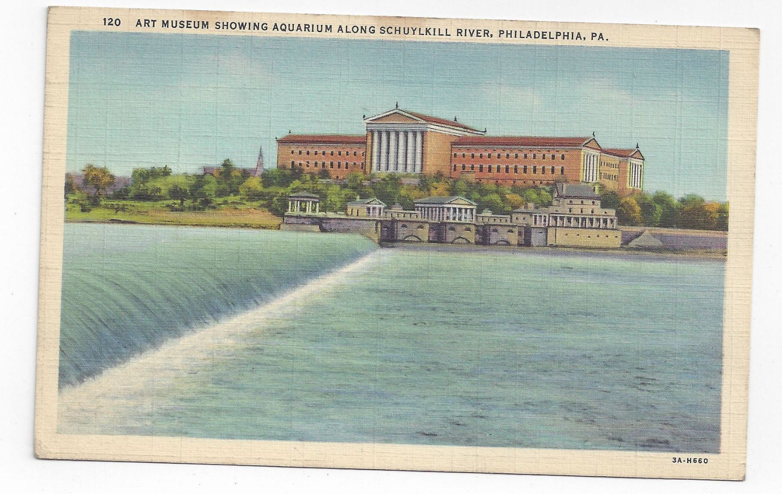 PA Philadelphia Art Museum Aquarium Water Works Vintage 1933 Linen Postcard