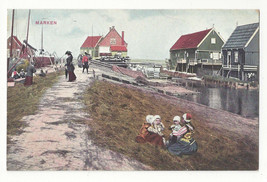 Netherlands Marken Children Playing in Hay by Canal Vtg Postcard c 1910 - $5.52