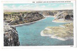 WY Guernsey Lake North Platte River Vtg Sanborn Postcard Wyoming - $5.52