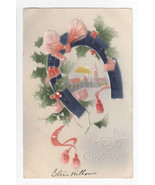 Christmas Postcard Air Brushed Horse Shoe Church Embossed 1908 Vintage UND - $5.99