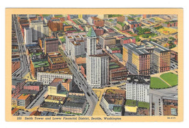 Seattle WA Smth Tower Lower Financial District Vintage Linen Postcard - $6.49