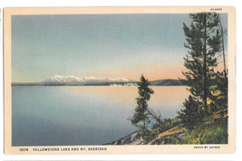 WY Yellowstone National Park Lake Mt Sheridan Vtg Haynes Linen Postcard ... - $6.89