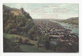 Germany Heidelberg from the Terrasse Poem Vtg Postcard c 1910 - $6.69