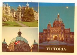 Canada Victoria BC Legislative Buildings Multiview Vtg 1995 Postcard 4X6 - $4.84