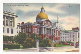 MA Boston State House Beacon Hill Vtg Linen Postcard - $6.49