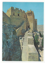 Greece Rhodes Acropolis of Lindos Entrance Stone Stairs Vtg Postcard 4X6 - $6.49