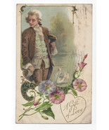 Valentine Postcard Colonial Man Morning Glories Embossed Vntg Winsch Bac... - $4.84