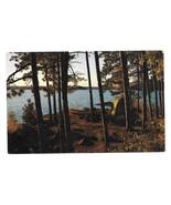 WI Camp Site Tent Canoe Thomas Peters Lake Photo Vtg Postcard - $6.49