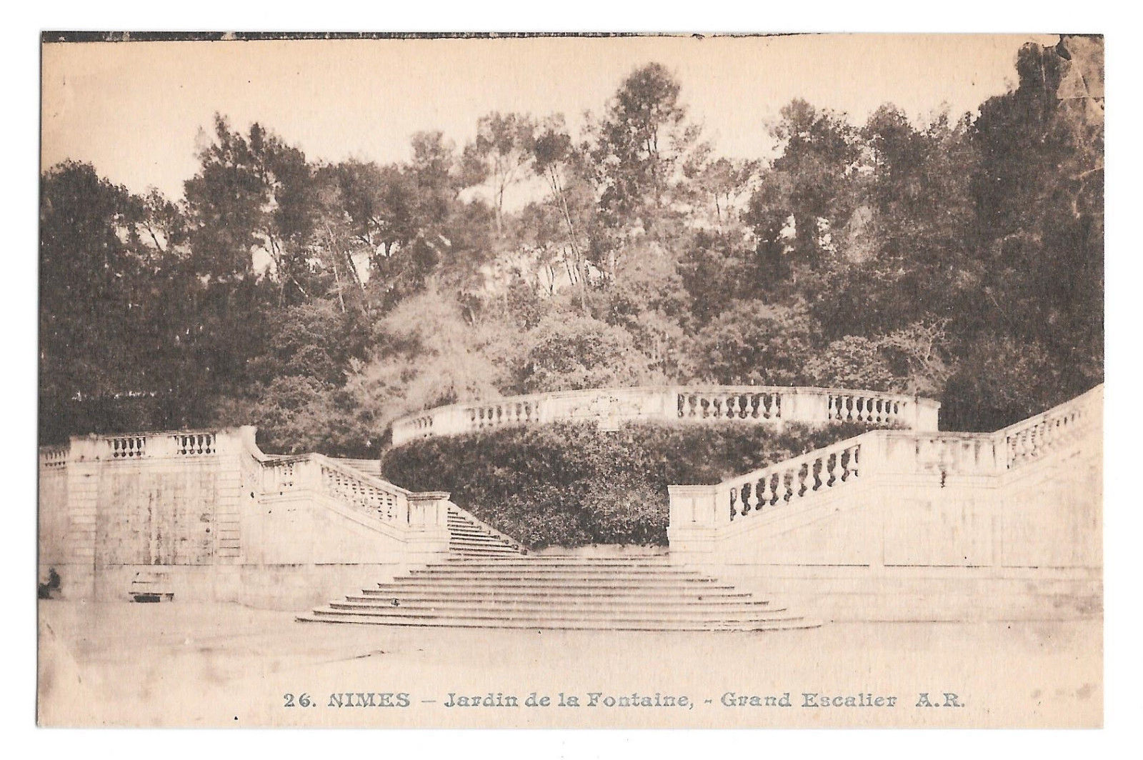 France Nimes Jardins de la Fontaine Garden Grand Staircase Vtg Postcard