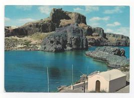Greece Rhodes Acropolus of Lindos Greek Ruins Archaelogy Vtg Postcard 4X6 - $6.49