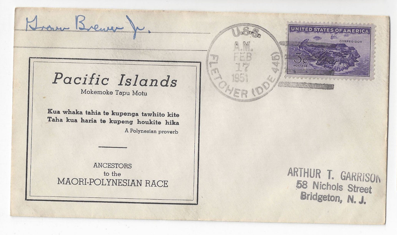 USS Fletcher DDE-445 Naval Cover 1951 Pacific Islands Cachet