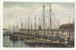 MA Boston T Wharf Ships Masts Vintage 1910 Postcard - $4.84