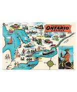 Canada Ontario Map Towns Cities Activities Vtg Postcard 1965 - $6.49