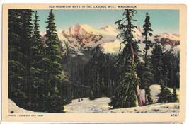 WA Cascade Mountains Vista Vtg C P Johnson Linen Postcard Washington - $6.49
