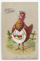 Easter Hen with Eggs in Apron Embossed 1909 Vintage Postcard - $4.84