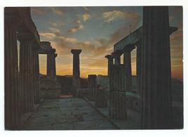 Greece Aegine Egina Temple of Aphea Sunset Vtg Postcard 4X6 - $6.49