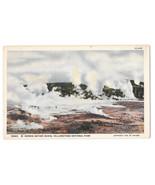 WY Yellowston Park Norris Geyser Basin Vtg Haynes Linen Postcard Wyoming - $6.49