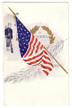 Patriotic Postcard Decoration Day In Memoriam Soldier US Flag Embossed Gilt - $6.49