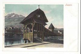 Switzerland Luzern Lucerne Kapellbrucke Chapel Bridge Vtg UDB Postcard c... - $4.84