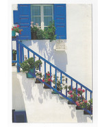 Greece Geraniums Sunlight Stairway 1995 Haitalis Postcard 4X6 - $5.52