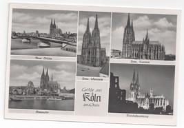 Germany Gruss aus Koln am Rhein Cologne Cathedral Multiview Vintage Postcard RP - $6.49