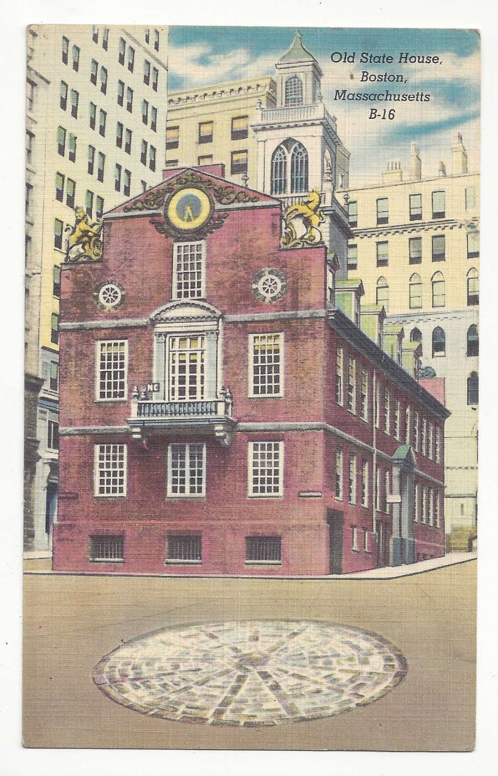 Ma Boston Old State House Washington State Sts Vtg Linen