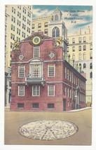 MA Boston Old State House Washington & State Sts Vtg Linen Postcard - $6.49