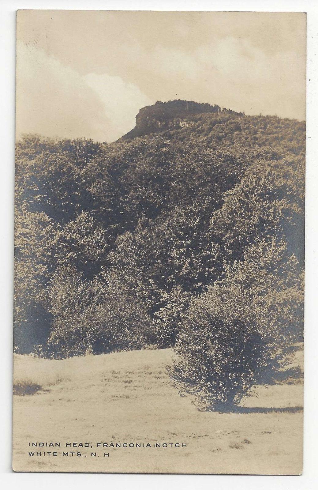 NH RPPC Franconia Notch Indian Head White Mountain Vtg Real Photo Postcard