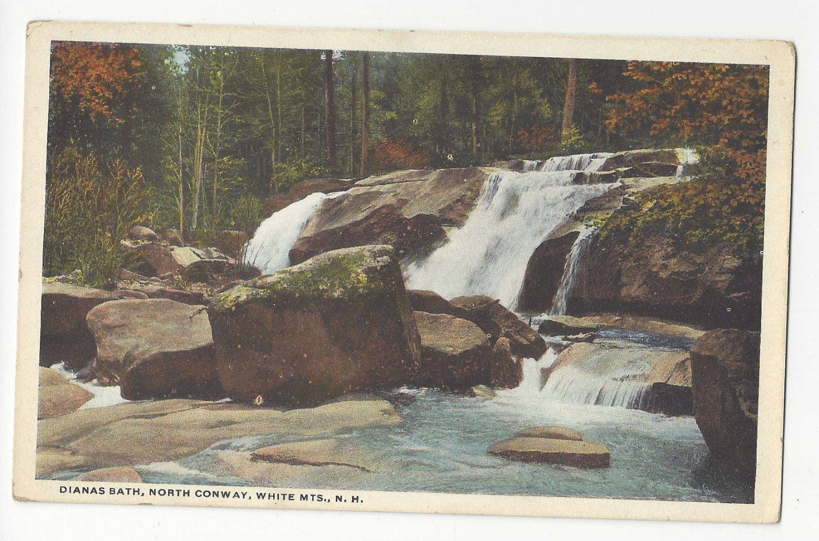 NH White Mountains North Conway Dianas Bath Vtg Postcard