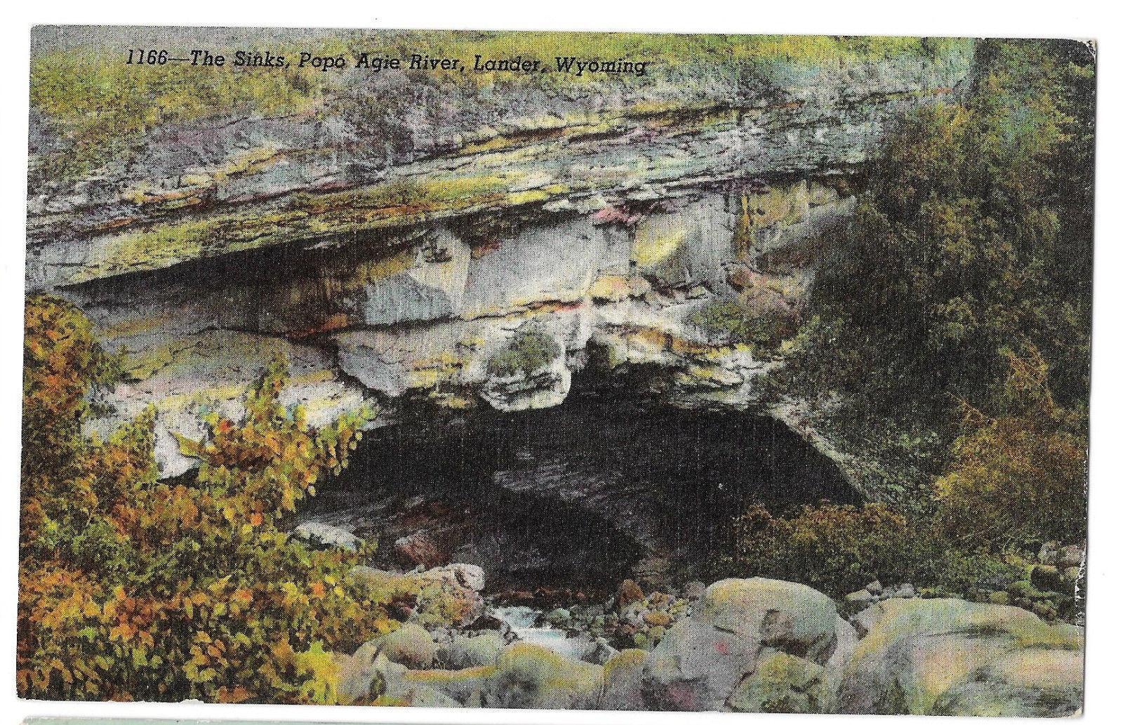WY Lander The Sinks Intake Popo Agie River Vtg Linen Postcard Popoagie Wyoming