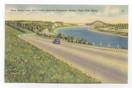 Cape Cod Canal MA Sagamore Bridge Vintage Tichnor Linen Postcard - $4.84