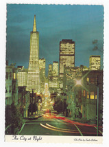 CA San Francisco Financial District at Night Vtg Sandor Balatoni Postcar... - $4.84
