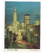 CA San Francisco Financial District at Night Vtg Sandor Balatoni Postcar... - $4.84