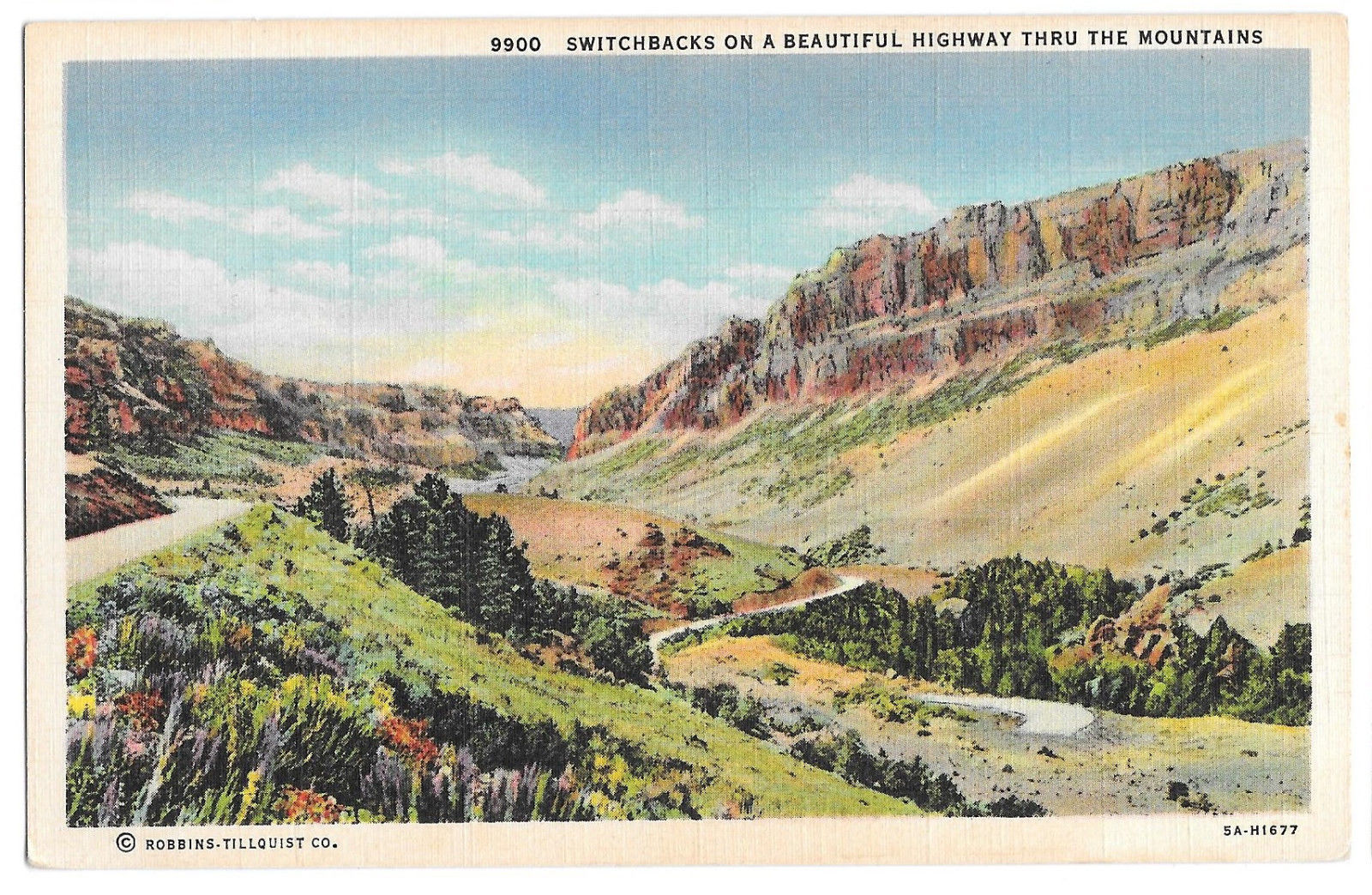 WA Switchback Beautiful Highway thru Mountain Washington View Vtg Linen Postcard