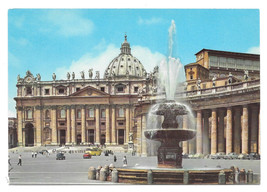 Italy Rome St Peters Basilica Cathedral Fountain Vtg Postcard 4X6 - $6.49