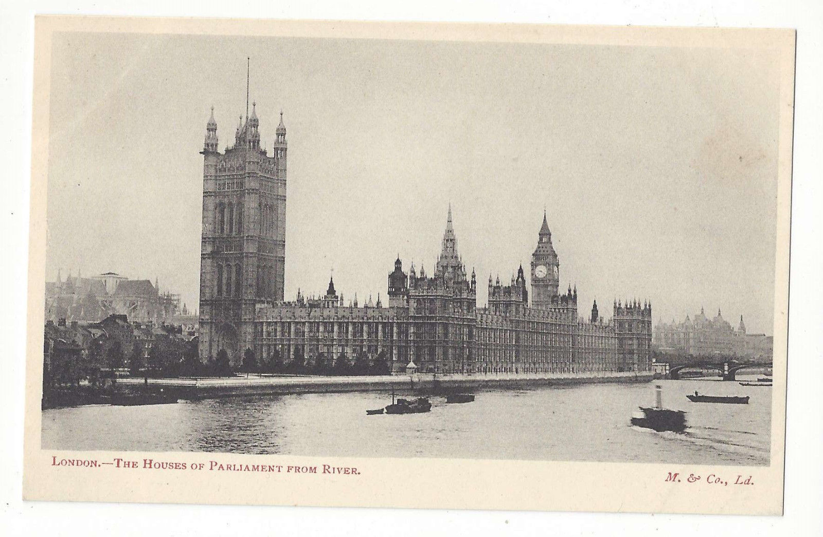 UK England London Houses of Parliament Thames Vtg Postcard