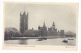 UK England London Houses of Parliament Thames Vtg Postcard - $4.84