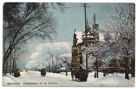 Canada Quebec Montreal Sherbrooke St. in Winter Vintage Postcard ca 1910 - $4.84