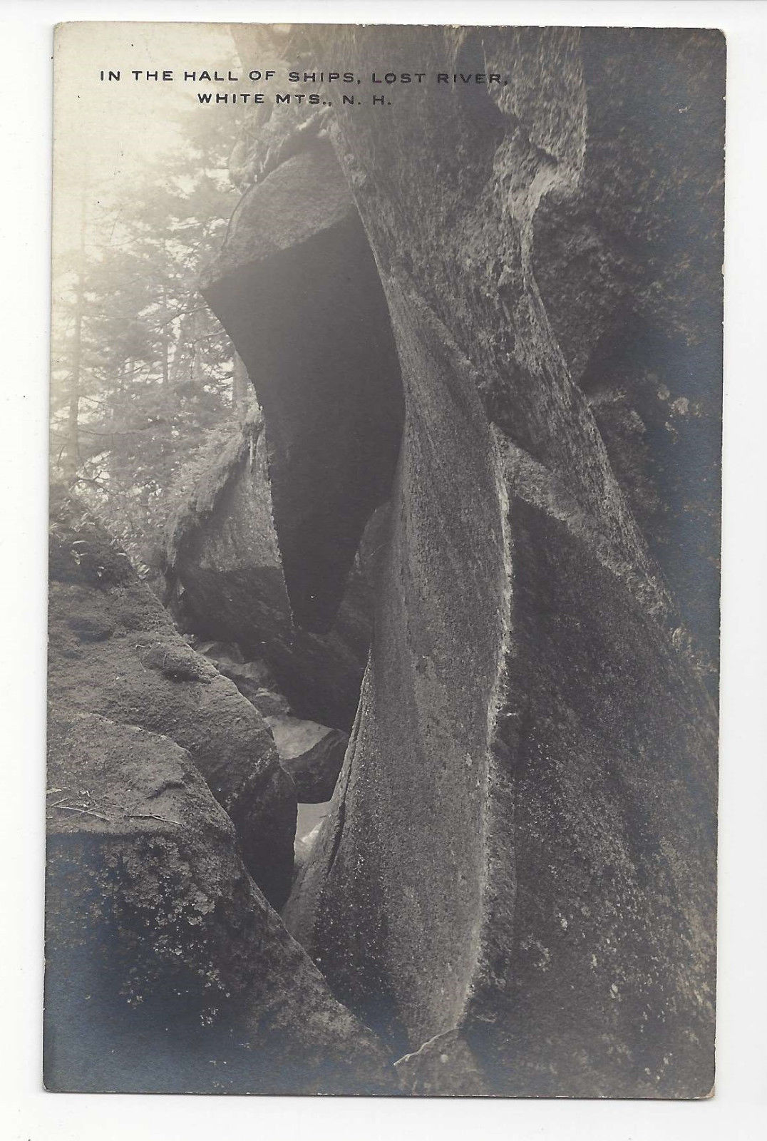 NH RPPC Hall of the Ships Lost River White Mountain Vntg Real Photo Postcard
